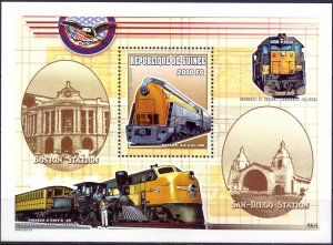Guinea. 2000. bl630-33. Locomotive. MNH.