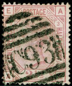 SG141, 2½d rosy mauve PLATE 4, USED. Cat £60. EA