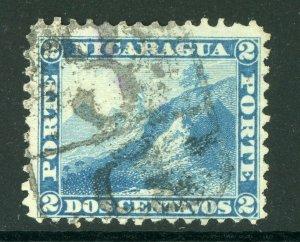 Nicaragua 1869-73 Momotombo 2¢ Bright Blue Perf 12 w?Granada  L35