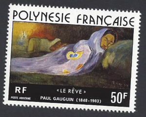 French Polynesia #C137, MNH single,The Dream by Paul Gaugin, issued 1976