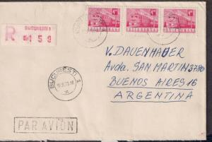 ROMANIA: #2281 Cover 1972 Registered Air Cover to Argentina Train motif