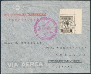 NETHERLAND INDIES 1936 HINDENBURG ZEPPELIN OLYMPIC FLIGHT COVER HV3777