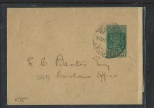 RHODESIA  (P1703B)  1/2D ARMS PS WRAPPER TO CUSTOMS OFFICE