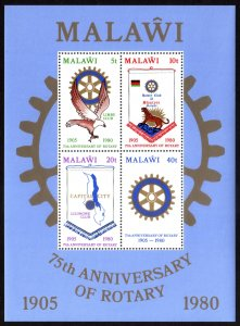 1980 Malawi, MNH, Rotary international minisheet, Sc 365a