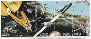 1990    ANTIGUA  -  SG. 1395 / 1404 - BLOCK OF 10 -  ACHIEVEMENTS IN SPACE - MNH