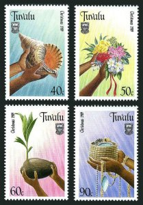 Tuvalu 529-532,MNH.Michel 550-553. Christmas 1989.Conch shell,Flower bouquet,