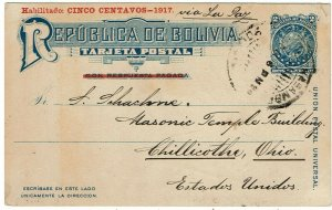 Bolivia 1924 Cocabamba cancel on postal card to the U.S.