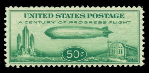 U.S. 1933 AIRMAIL - Baby Zeppelin  50c green Scott # C18 mint MH VF