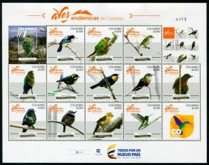 HERRICKSTAMP NEW ISSUES COLOMBIA Sc.# 1475 Endemic Birds Sheetlet