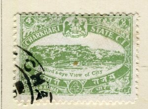 INDIA; CHARKHARI STATE 1932 early pictorial issue fine used 4a. value