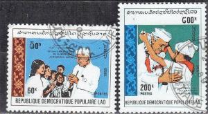 LAOS STAMPS SC# 947+948  *CTO* 1989  60+200k  INDIAN STATESMAN  SEE SCAN
