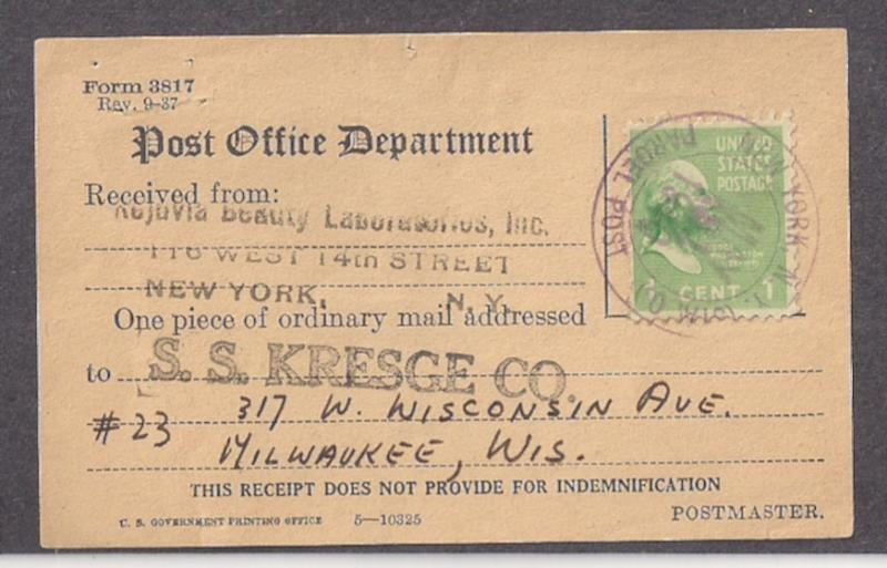 1c Prexie #804 used on Certificate of Mailing postal form NYC Sta O Parcel Post