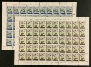 ICELAND #329-332, Complete Flower set in Sheets of 50, NH, VF, Scott $67.50