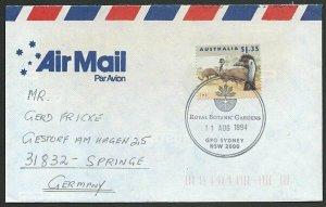 AUSTRALIA 1994 cover to Germany - nice franking - Botanic Gardens pmk......47141