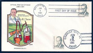 UNITED STATES FDC 35¢ Dr Charles Drew DUAL 1981 Collins H-P