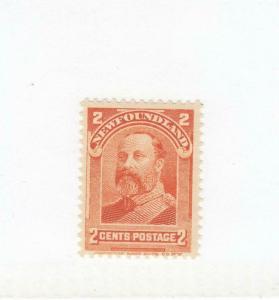 NEWFOUNDLAND  # 81 FVF-MNH 2cts 1897-1901 KING EDWARD VII / ORANGE CAT VALUE $16