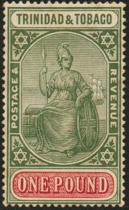 TRINIDAD & TOBAGO-1921-22 £1 Green & Carmine Sg 215 toned gum AMM V48609