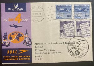 1960 Santiago Chile First Flight Cover FFC To London England BOAC Jet Liner