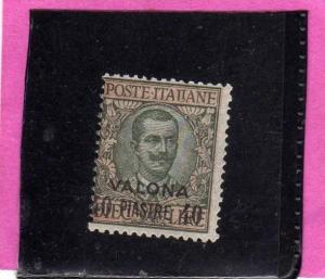 LEVANTE VALONA 1909 - 1911 SOPRASTAMPATO D´ITALIA ITALY OVERPRINTED 40 PI SU...