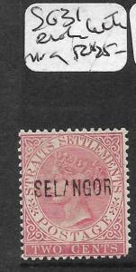 MALAYA SELANGOR (P0712B) QV 2C  SG 31  BROKEN LETTERS MOG