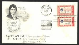 USA Sc# 1142 pair (ArtCraft) FDC (Baltimore  MD) 1960 9.14 Francis Scott Key