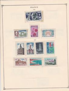 france 1967 stamps page mounted mint & used ref 17489