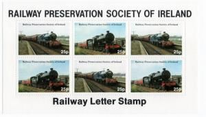 (I.B) Ireland Cinderella : Railway Preservation Society Mini-Sheet 25p