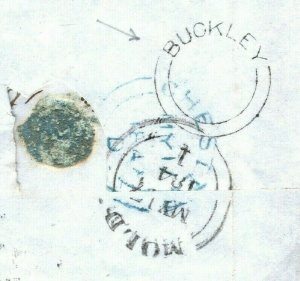 GB WALES Cover Superb *BUCKLEY* UDC Flints Mold Numeral 1d Red 1847 Hayle ZA197