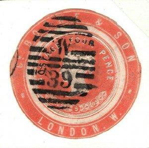 GB QV ADVERT RING Scarce *C BORNE* 4d Postal Stationery Piece 1863 Used 42b.10