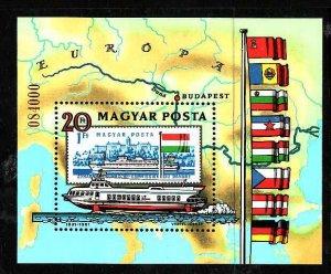 Hungary-Sc#2712-unused NH sheet-Ships-Maps-Flags-1981-