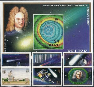 1986 Belize Halley´s Comet, Satellite, Souvenirsheet+compl. set VFMNH, CAT 22$
