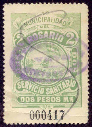 Rosario Argentina 1902 2P Hooker Tax Stamp w/ inverted Sana oval handstamp