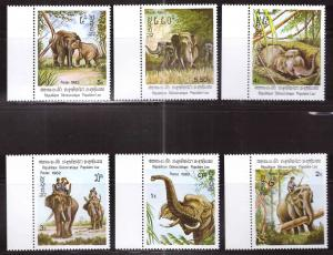 LAOS Scott 355-360, NGAI MNH** Elephant set