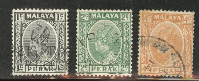 MALAYA Perak Scott 69-71 used 1935-37 short stamp set