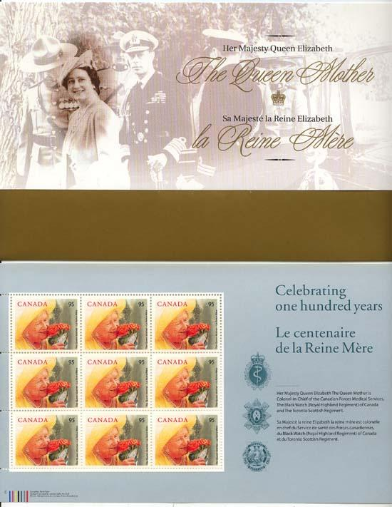 Canada - 2000 Queen Mother's Birthday Full Pane mint - #1856