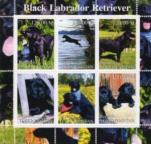 Turkmenistan 2000 DOGS BLACK LABRADOR RETRIEVER Sheetlet (6) MNH