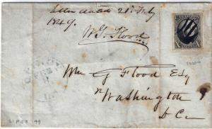 U.S. 2 1847 On Cover 4 MARGIN, Washington D.C. (0825)