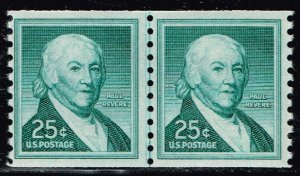 US STAMP #1059A 1965 25¢ Paul Revere Liberty Series Coil MNH/OG LINE PAIR