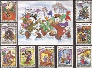 Anguilla - 1983 Disney Dickens Christmas - 9 Stamp Set + S/S - 1P-004