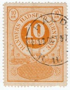 (I.B) Denmark Railway : Randers Hadsund Jernbane - Parcel Stamp 10k