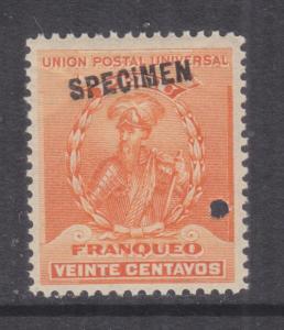PERU, 1896 Pizarro 20c. Orange, ABN Punched Proof, SPECIMEN in Black, mnh.