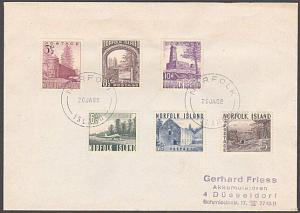 NORFOLK IS 1953 definitive set fine used on 1982 cover to Germany..........54615