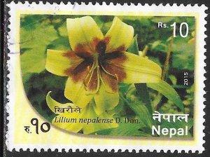 Nepal 1000 Used - Flora - Lily of Nepal )Lilium nepalense)