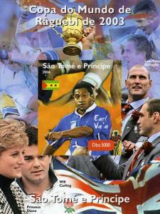 Sao Tome & Principe 2004 Rugby Earl Va'a Deluxe s/s mnh.vf