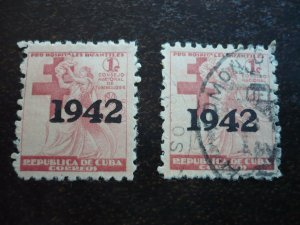 Stamps - Cuba - Scott# RA7 - Mint Hinged & Used Set of 2 Overprinted Stamps