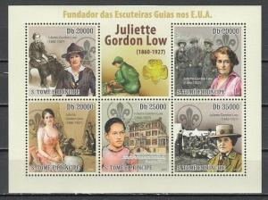 St. Thomas, 2010 issue. Juliette Low, Girl Scout Founder, sheet of 5.