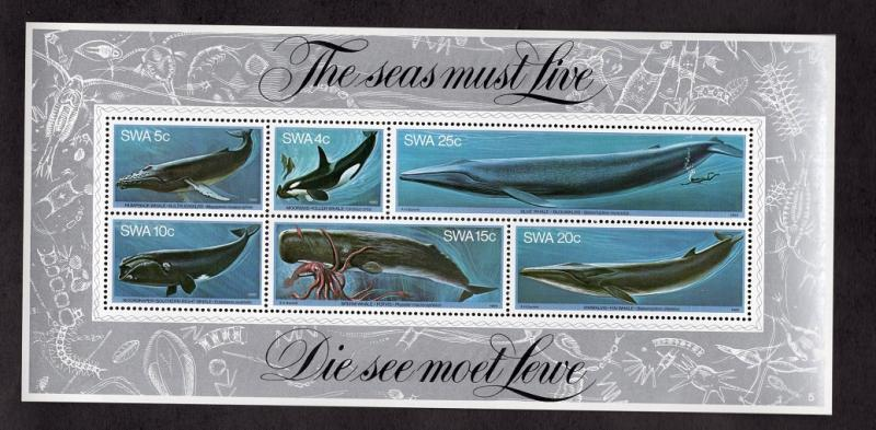South West Africa  #437-442a  1980  MNH sheet whales