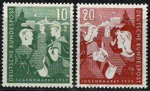 GERMANY 1952 YOUTH HOSTELS' FUND SET MINT(NH) SG1080-81 Wmk.263 P.14 SUPERB