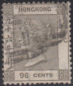 Hong Kong 1863-90 used Sc 24 96c Victoria