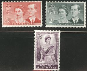 AUSTRALIA Scott 267-269 MH* 1954 QE2 Royal Visit